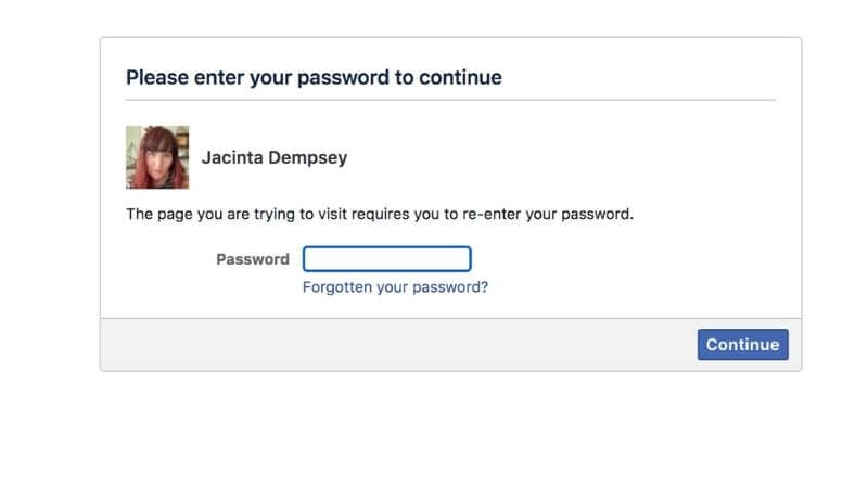 Facebook merge password request